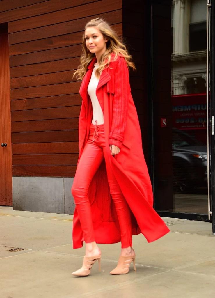 Gigi Hadids Red Pants And Sweater At Fashion Week 2016