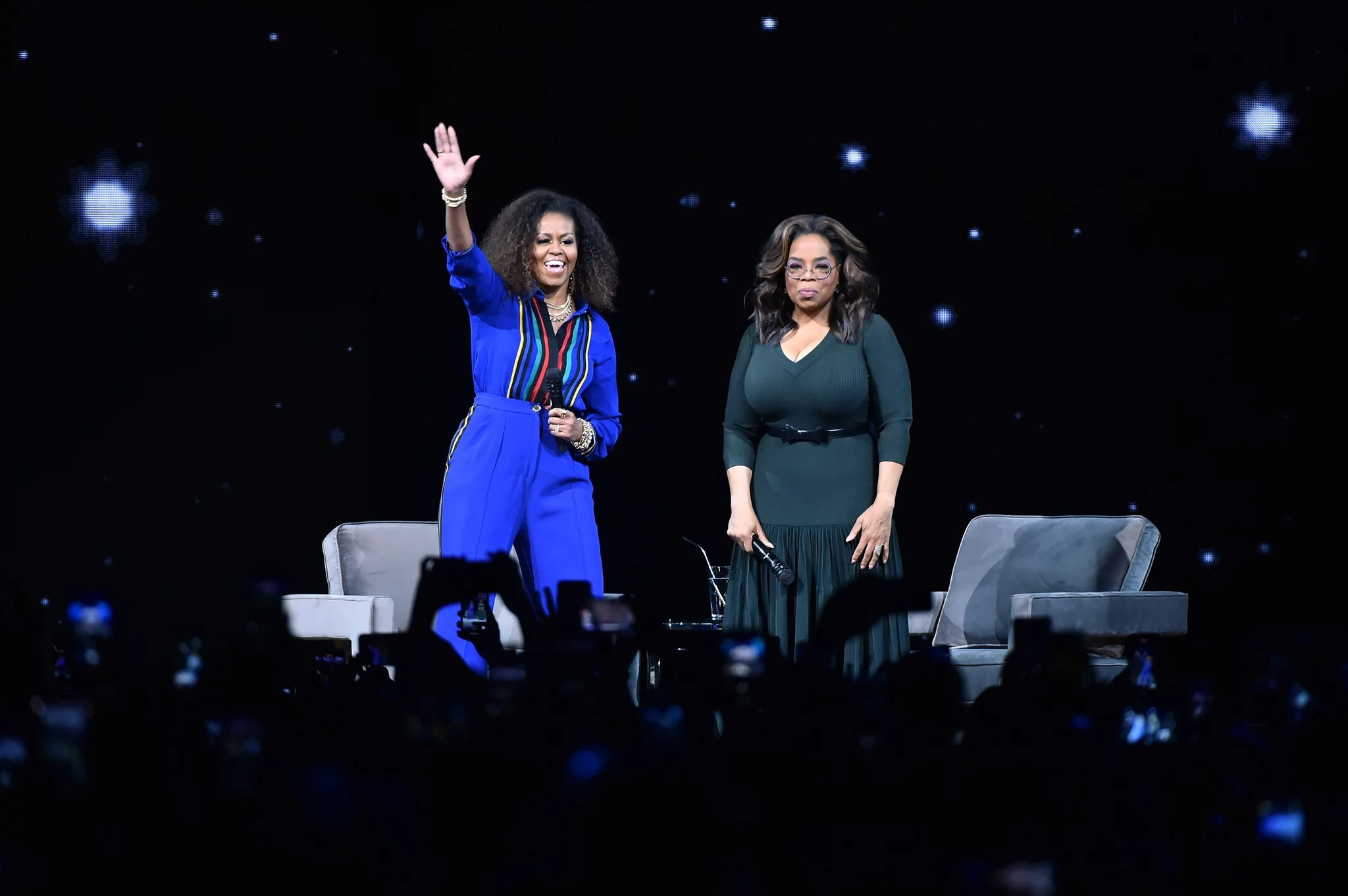 NEW YORK, NEW YORK - FEBRUARY 08: Michelle Obama and Oprah Winfrey during Oprah's 2020 Vision: Your Life in Focus Tour presented by WW (Weight Watchers Reimagined) at Barclays Center on February 08, 2020 in New York, New York. (Photo by Theo Wargo/Getty Images)