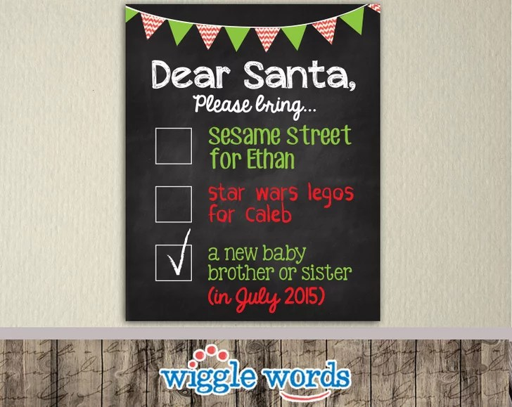 Dear Santa Checklist Poster Cute Holiday Pregnancy