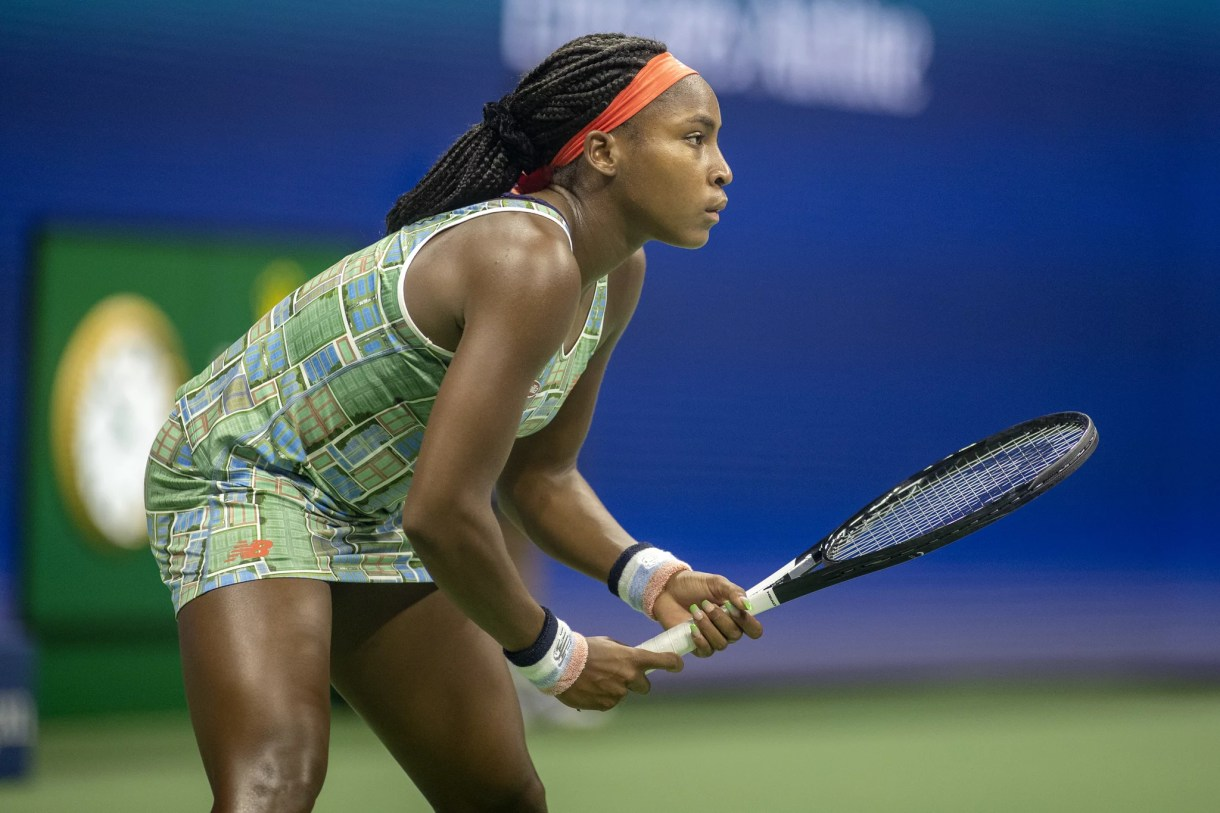 2019 US Open Tennis Tournament- Day Six.  Coco Gauff of the United States in action against Naomi Osaka of Japan  in the Women's Singles Round three match on Arthur Ashe Stadium during the 2019 US Open Tennis Tournament at the USTA Billie Jean King National Tennis Center on August 31st, 2019 in Flushing, Queens, New York City.  (Photo by Tim Clayton/Corbis via Getty Images)