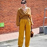 Fall Outfit Idea: Mustard Sweater + Yellow Trousers