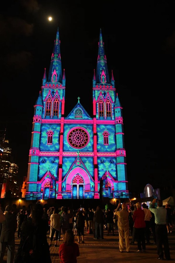 Colorful lights were projected onto St. Mary's Cathedral ...