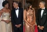 Vedi Barack e Michelle Obama al loro primo ed ultimi pranzi di stato, parallelamente