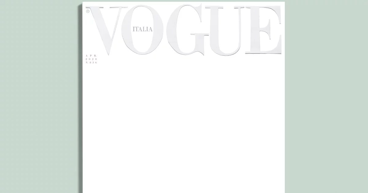 Vogue Italia's April Cover Is Left Blank Out of Respect and Hope For the Future