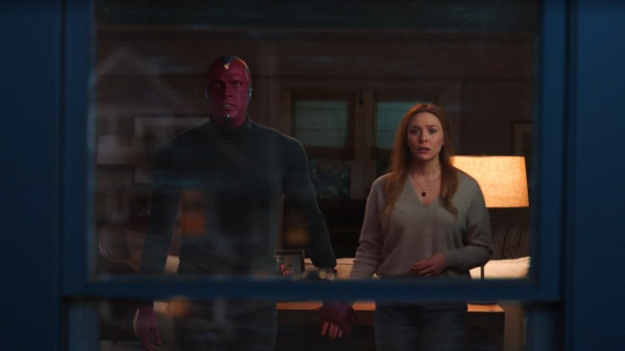 Paul Bettany as Vision and Elizabeth Olsen as Wanda Maximoff in Marvel Studios' WANDAVISION exclusively on Disney+. Photo courtesy of Marvel Studios. ©Marvel Studios 2021. All Rights Reserved.
