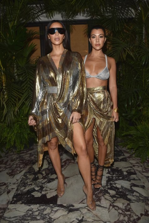 Kim and Kourtney Kardashian Wearing Balmain