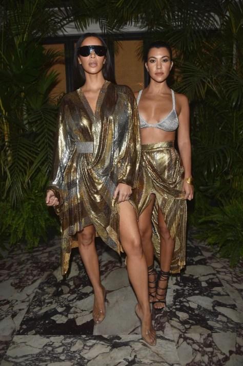 Kim and Kourtney Kardashian Wearing Balmain