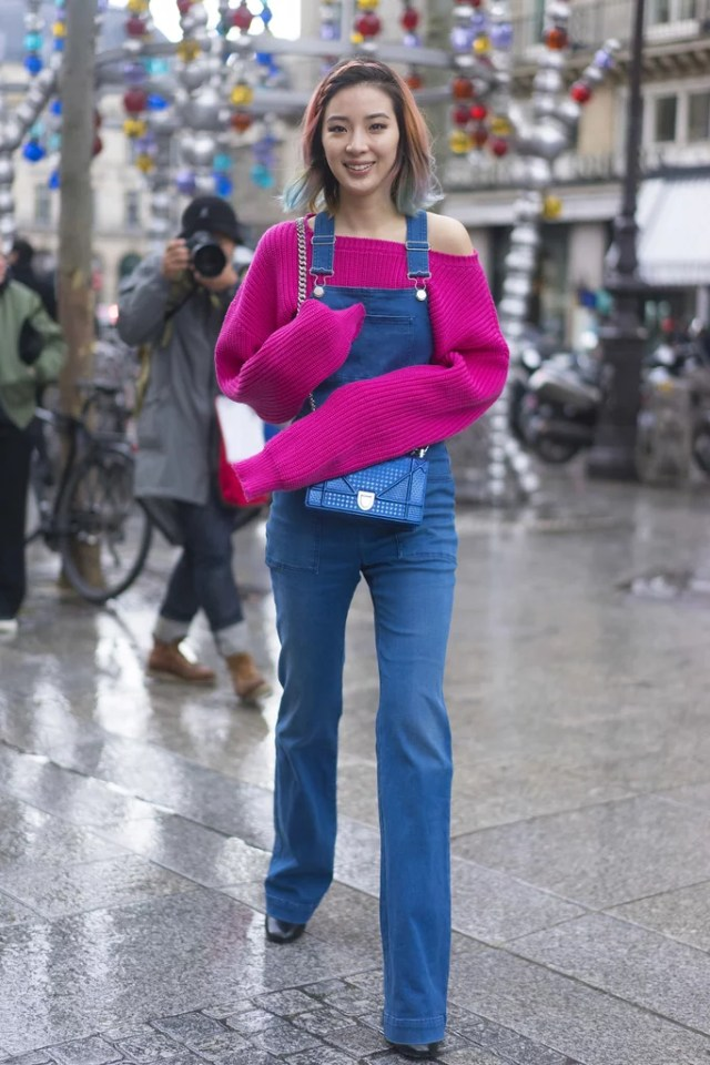 Overalls Atop an Oversize Sweater