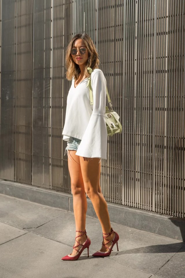 A Bell-Sleeved Blouse That Just Lets Your Cutoffs Peek Out