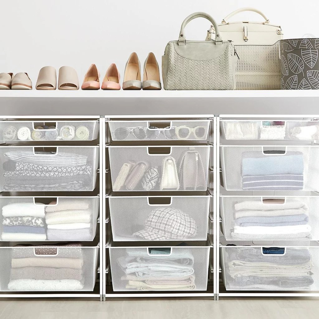 White Elfa Mesh Start A Stack Best Bedroom Organisers