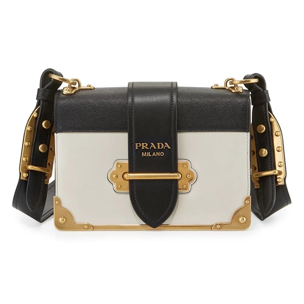 7cfde0759355 Prada Cahier Notebook Shoulder Bag, White/black (Bianco/nero