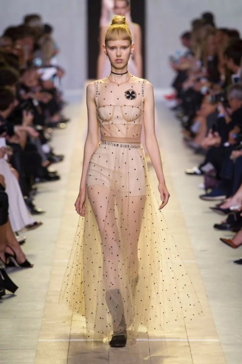 A model walked down the runway in the dress at Paris Fashion Week.