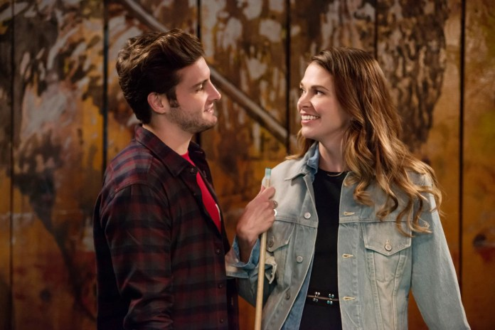 YOUNGER, (from left): Nico Tortorella, Sutton Foster, 'Broke and Pantyless', (Season 1, ep. 107, aired May 5, 2015). TV Land/courtesy Everett Collection