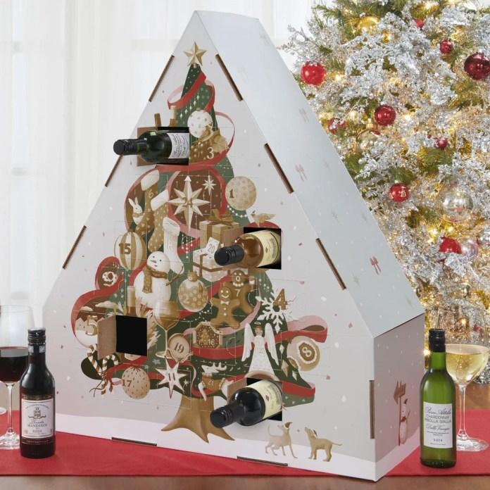 Wine Advent Calendar Shaped Like a Christmas Tree