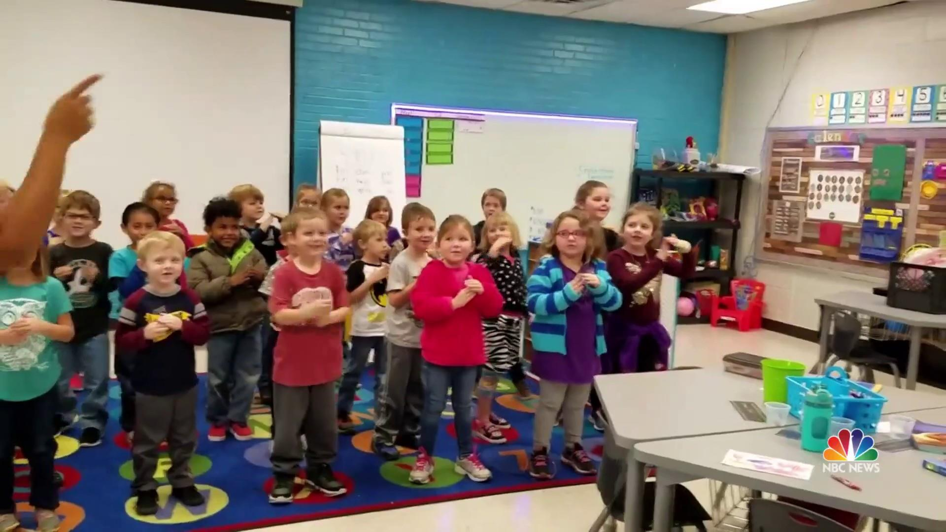 Kindergarten Class Learns To Sign Happy Birthday In