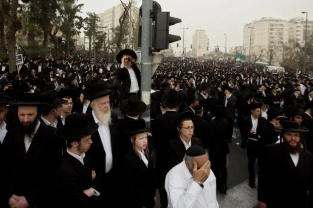 Image: Ultra-Orthodox Jewish men participate in a rally in Jerusalem