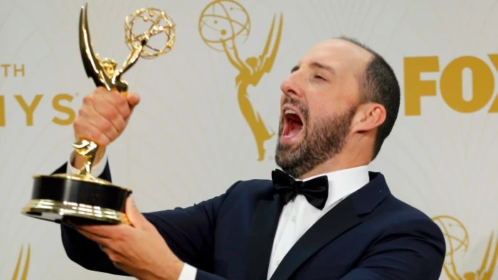 Image: Tony Hale holds his award during the 67th Primetime Emmy Awards in Los Angeles