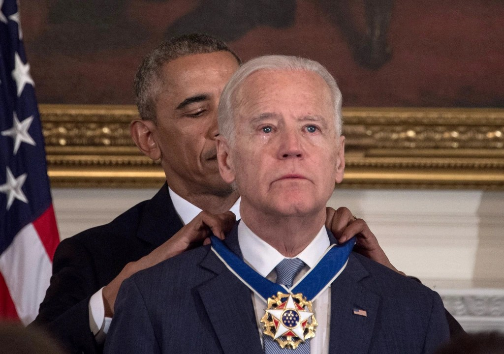 President Obama awards the Vice President with the Presidential Medal of Freedom. January, 2017.