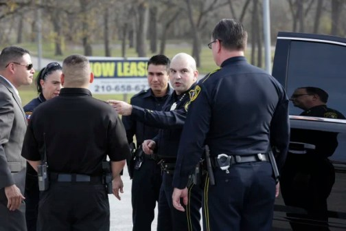 Image: Bexar County Sheriff Javier Salazar gives direction to deputies near the scene of an officer involved shooting on Dec. 21, 2017 where officers killed a 30 year old female suspect.