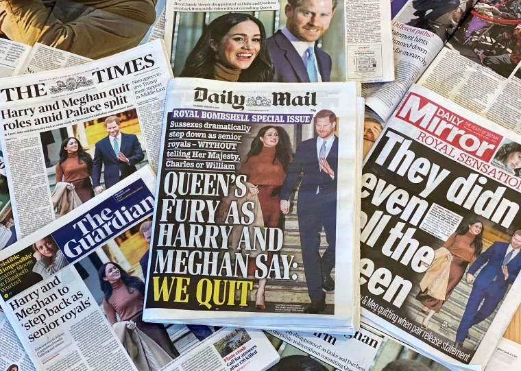 Image: An arrangement of UK daily newspapers photographed as an illustration in London on Jan. 9, 2020, shows front page headlines reporting on the news that Britain's Prince Harry, Duke of Sussex and his wife Meghan, Duchess of Sussex, plan to step back