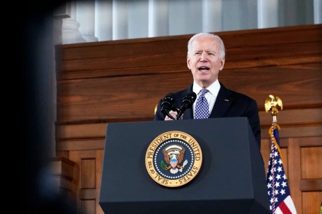 President Joe Biden speaks after meeting with leaders from Georgia's Asian-American and Pacific Islander community on March 19, 2021, at Emory University in Atlanta.