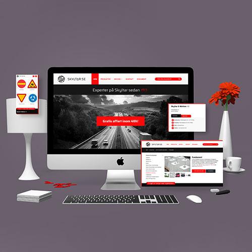 Webbutveckling och grafisk formgivning åt Skyltar & Märken