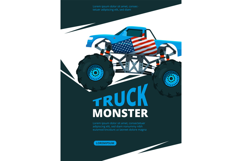 monster truck poster design template