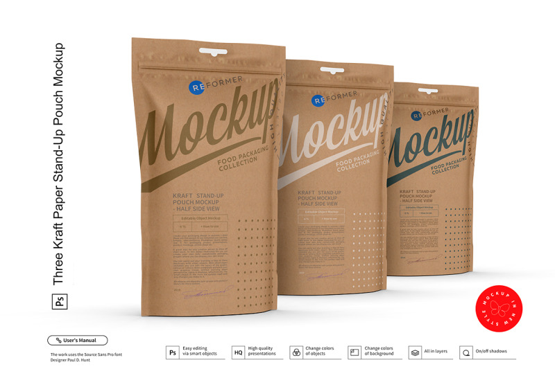 Download Kraft Stand Up Pouch Mockup Half Side View Yellowimages