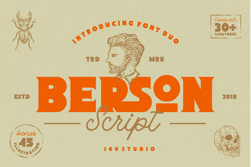 Download Berson Font + 45 Illustration Pack By 160 Studio ...