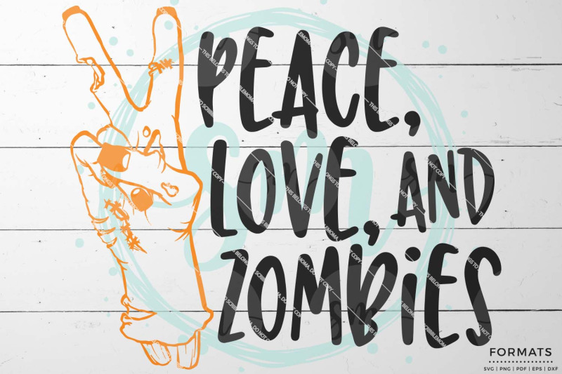 Download Peace Love & Zombies Halloween SVG By ScribbleMoma ...