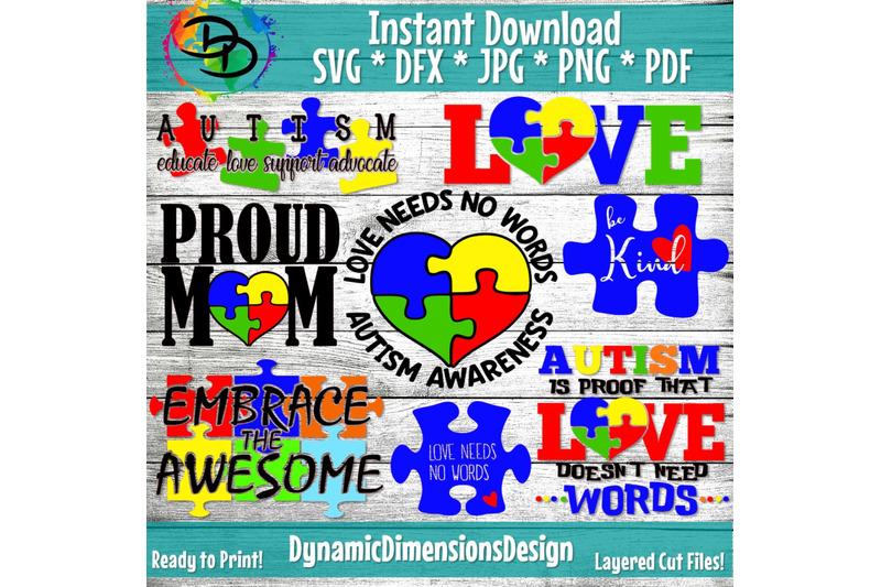 Download Autism SVG, Autism Bundle, Love Needs no Words svg, Puzzle ...