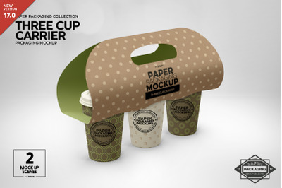Download Kraft Paper 6 Pack Green Glass Bottle Carrier Mockup Front View Yellowimages
