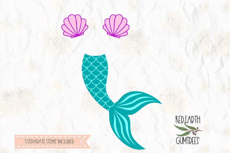 Download Mermaid tail, clam, shell cut file in SVG, DXF, PNG, PDF ...