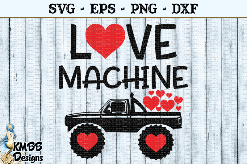 Download Love Machine Truck Valentine SVG EPS PNG DXF Cut file By ...
