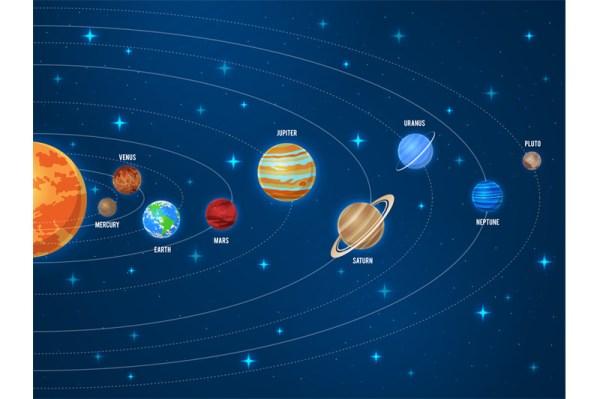 Solar system. Galaxy sun system solar scheme planets space ...