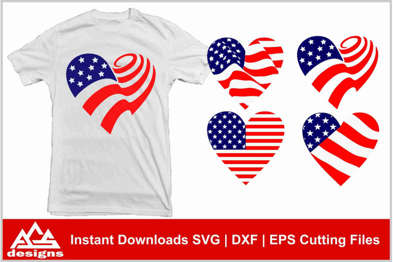 Download Usa Flag Heart Love Svg Design By AgsDesign ...