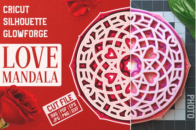 Download Layered 3D Love Mandala SVG Cut File By Pixaroma ...