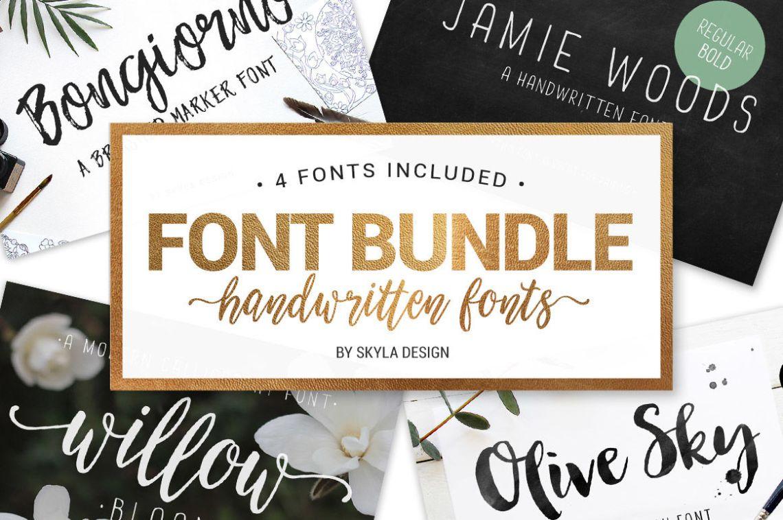 Download Font Bundle - 4 handwritten fonts By SkylaDesign ...