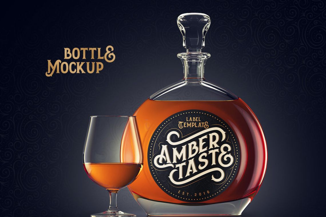 Download Amber Plastic Bottle With Dispenser Mockup Yellowimages