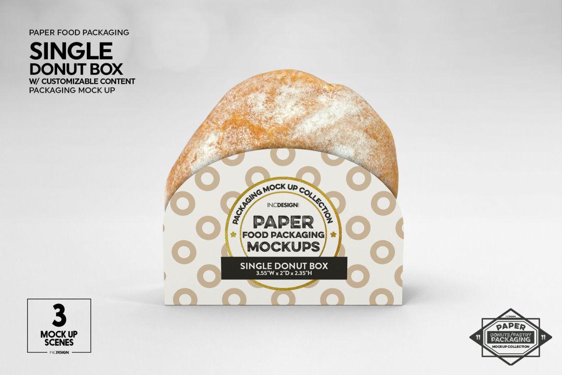 Download Single Donut Box Packaging Mockup By INC Design Studio ...