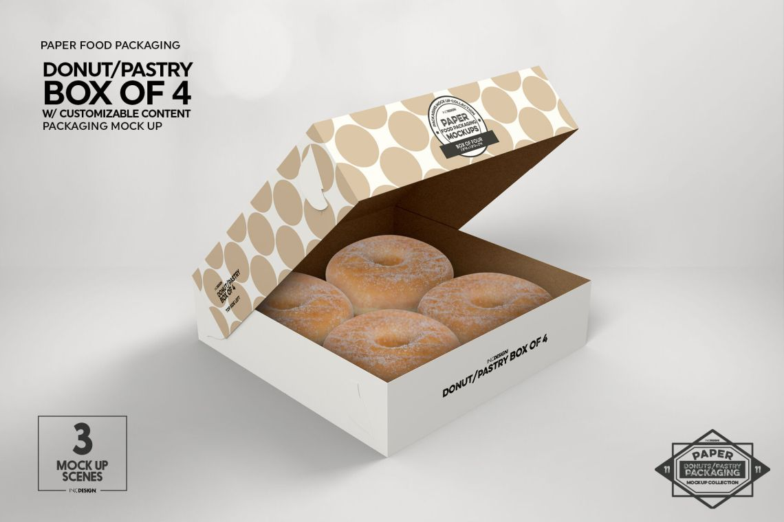 Download Box of Four Donut Pastry Box Mockup By INC Design Studio ...