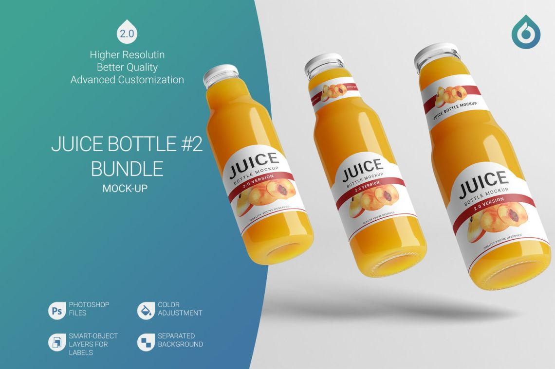 Download Clear Glass Peach Juice Bottle Mockup Yellowimages