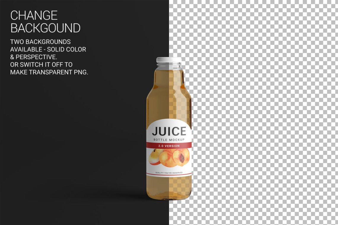Download Clear Glass Bottle With Grape Juice Mockup Yellowimages