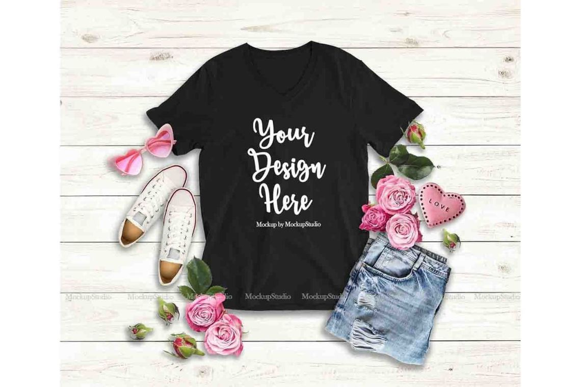 Download V Neck Female T Shirt Mockup Free Psd Yellowimages