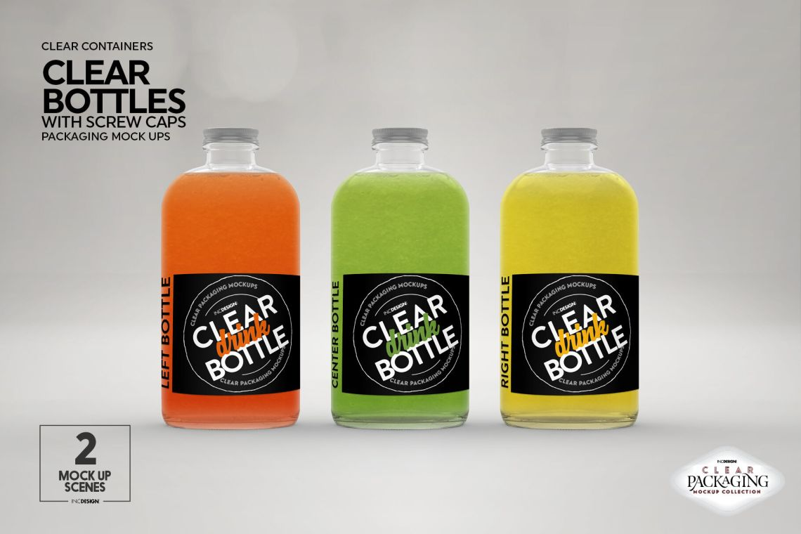 Download Clear Glass Juice Bottle Mockup Yellowimages