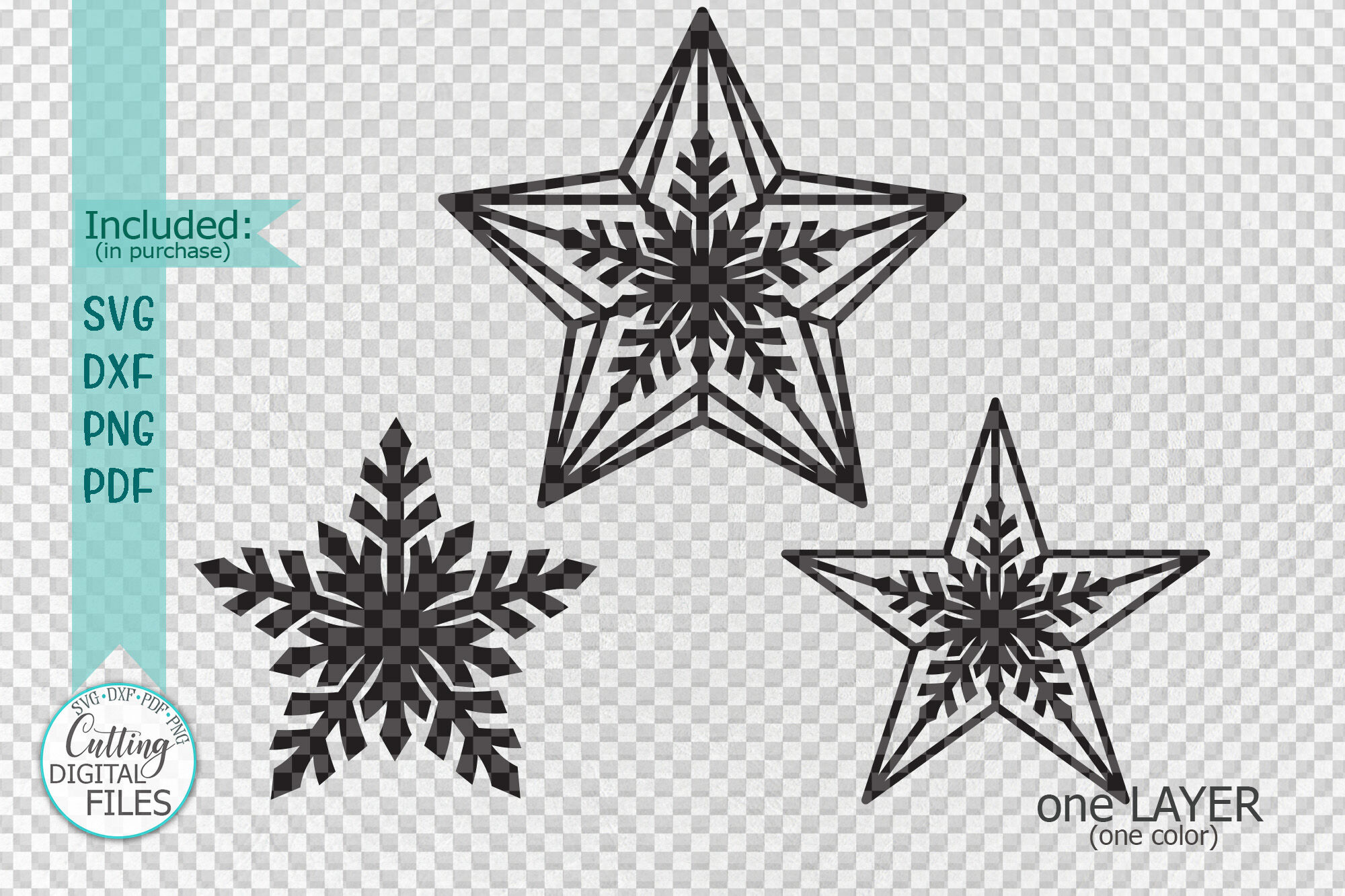 This digital download contains 1 zip file with 6 different designs. Christmas Star Set Decoration For Christmas Tree Svg Laser Cut Out By Kartcreation Thehungryjpeg Com