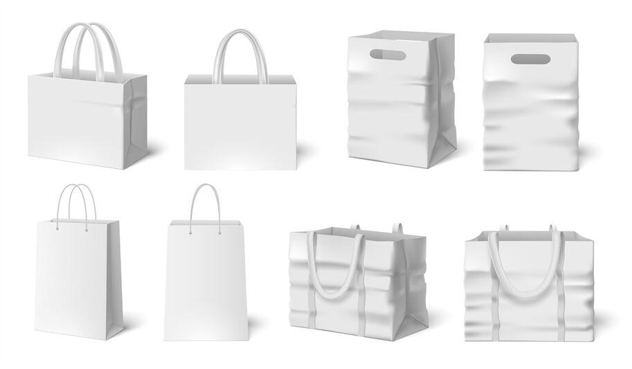 White shopping bag realistic mockup design vector. White Shopping Bag Mockup Paper Bags Fabric Bag 3d Realistic Packagi By Tartila Thehungryjpeg Com