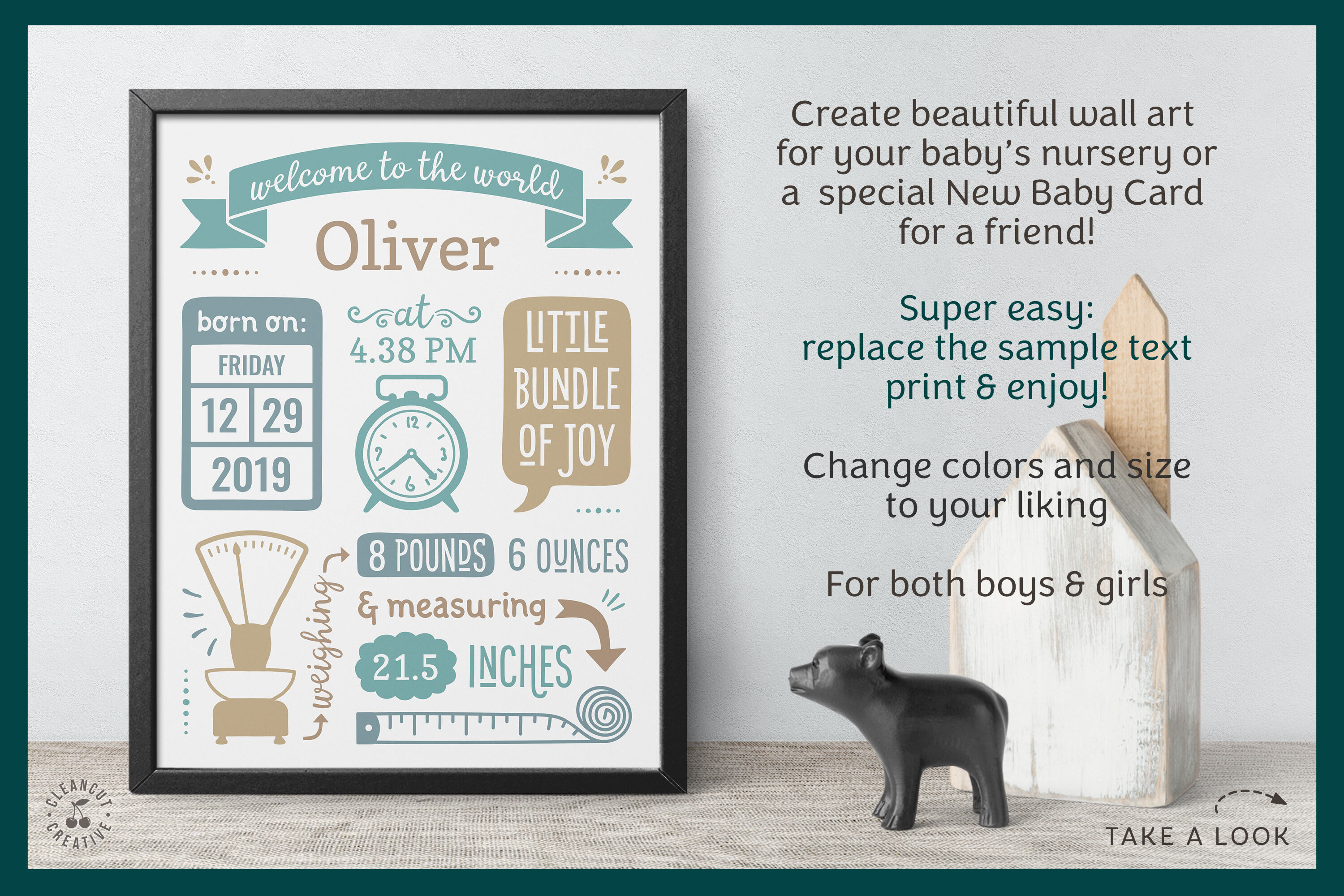 Birth announcement templates are great for faraway loved. Printable Birth Announcement Template Google Edit Baby Stats Print By Cleancutcreative Thehungryjpeg Com