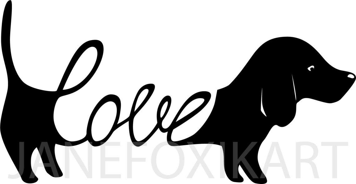 Download Dachshund Love: greeting card template + SVG By ...