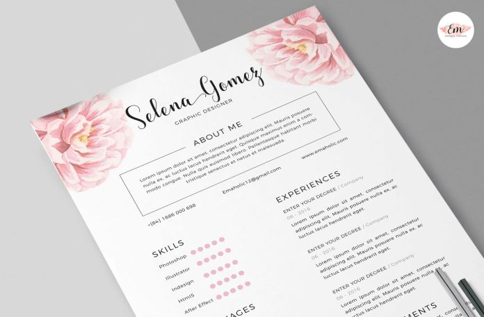 Elegant Floral Cv And Cover Letter Template By Emaholic Templates Thehungryjpeg Com